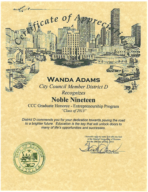 City Council Recognition Certificate