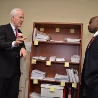 U.S. Senator John Cornyn meeting PEP Graduate Entrepreneur, Marcus Hill.