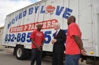 U.S. Senator John Cornyn meeting PEP Graduate Entrepreneur, Cedric Hornbuckle of Moved by Loved. (http://movedbylovellc.com/)