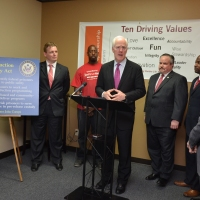 U.S. Senator John Cornyn hostng a press conference at the Prison Entrepreneurship Program's offices